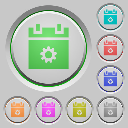 Schedule settings color icons on sunk push buttons Ilustrace