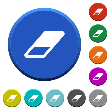 Eraser round color beveled buttons with smooth surfaces and flat white icons
