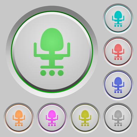 Office chair color icons on sunk push buttons