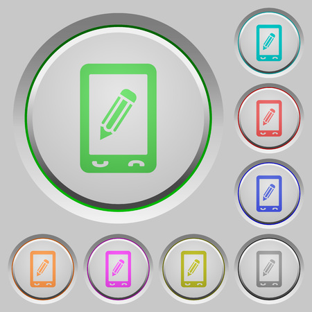 Mobile memo color icons on sunk push buttons Ilustrace