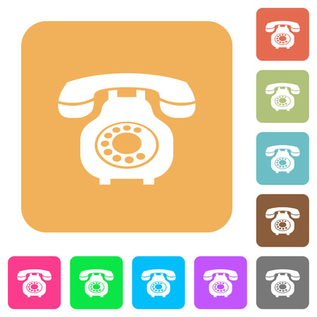 Vintage retro telephone flat icons on rounded square vivid color backgrounds.