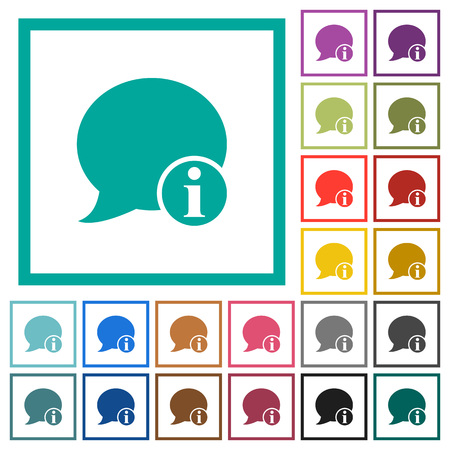 Blog comment info flat color icons with quadrant frames on white background