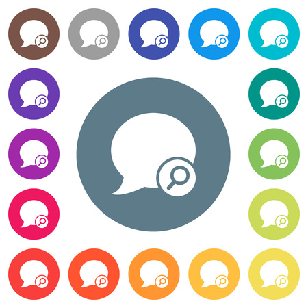 Find blog comment flat white icons on round color backgrounds, with 17 background color variations are included. Illustration