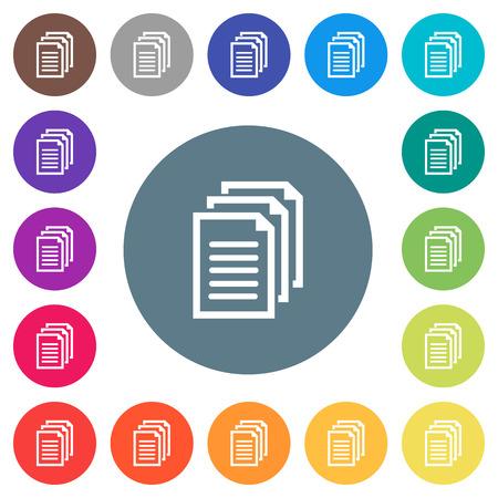 Icone bianche piatte di documenti multipli su sfondi rotondi di colore. Sono incluse 17 variazioni di colore di sfondo.