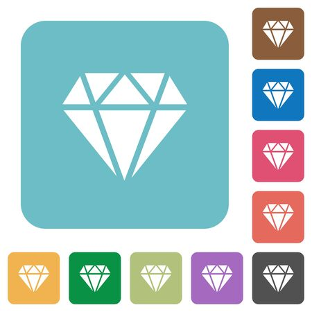 Diamond white flat icons on color rounded square backgrounds 일러스트