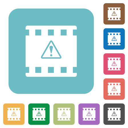 Movie warning white flat icons on color rounded square backgrounds
