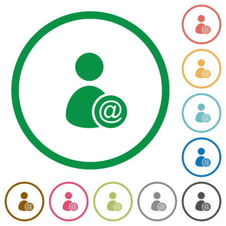Send user data as email flat color icons in round outlines on white background Stock fotó - 91656166
