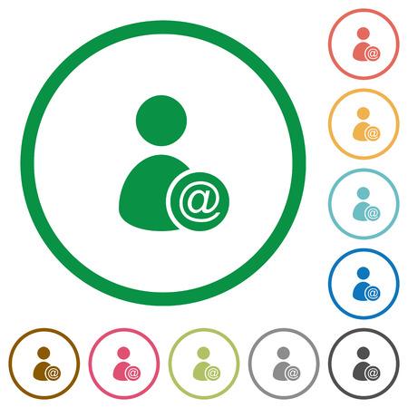 Stuur gebruikersgegevens als e-mail egale kleurpictogrammen in ronde contouren op witte achtergrond Stock Illustratie