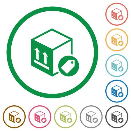 Pakket etikettering egale kleur pictogrammen in ronde contouren op witte achtergrond
