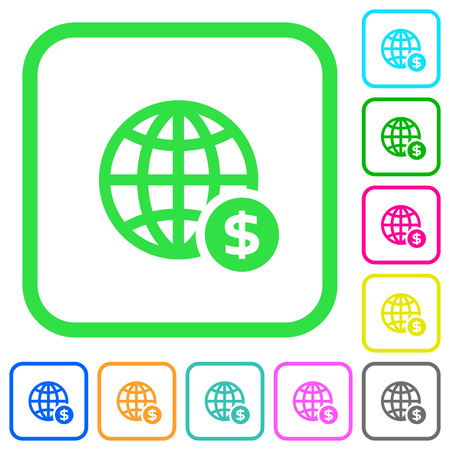 Online Dollar payment vivid colored flat icons in curved borders on white background