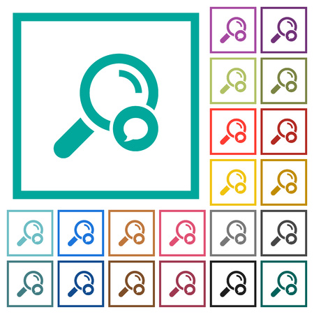 Search comment flat color icons with quadrant frames on white background