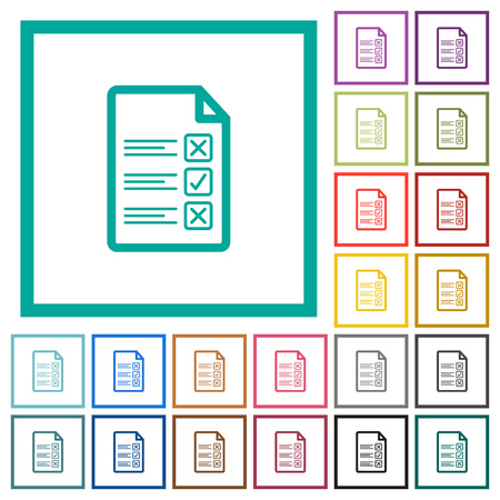 Questionnaire document flat color icons with quadrant frames on white background