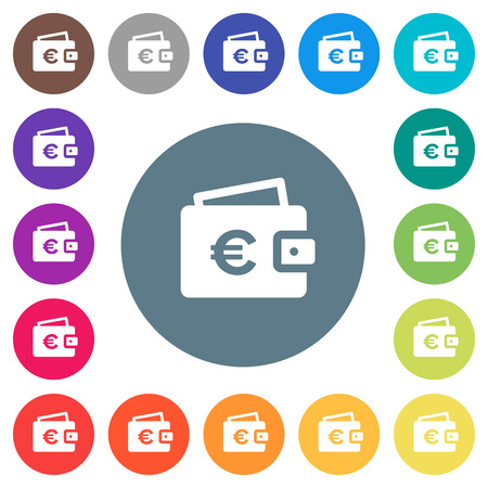 Euro wallet flat white icons on round color backgrounds. 17 background color variations are included.