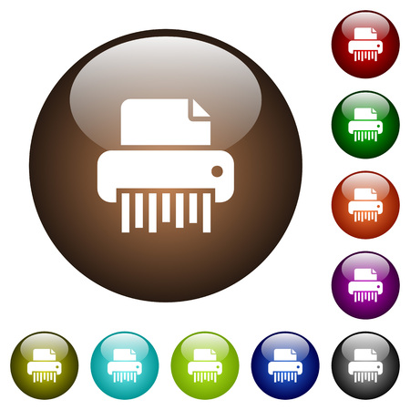 Office shredder white icons on round color glass buttons