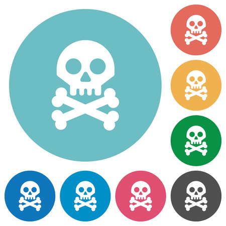 Skull with bones flat white icons on round color backgrounds Illustration