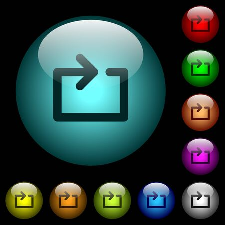 Media loop icons in color illuminated spherical glass buttons on black background. Can be used to black or dark templates