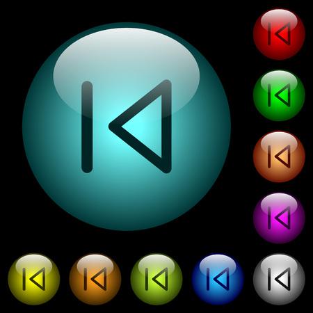 Medios iconos previos en color iluminado botones de vidrio esférico sobre fondo negro. Se puede usar para plantillas negras u oscuras