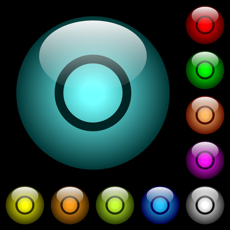 Media record icons in color illuminated spherical glass buttons on black background. Can be used to black or dark templates