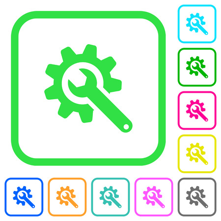 Wrench with cogwheel vivid colored flat icons in curved borders on white background