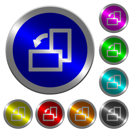 Rotate left icons on round luminous coin-like color steel buttons Illustration