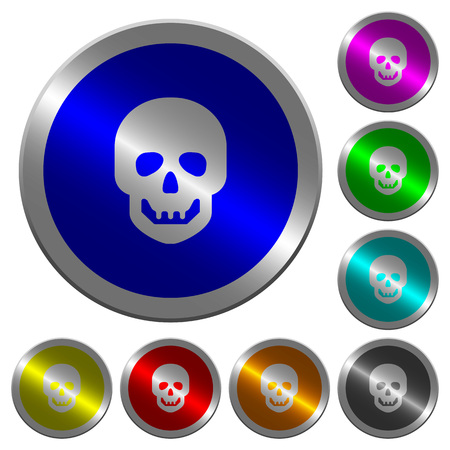Human skull icons on round luminous coin-like color steel buttons Ilustracja