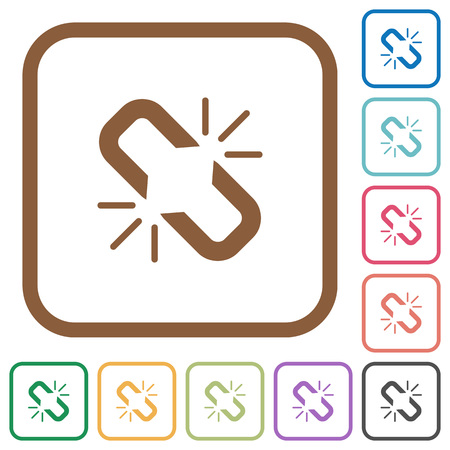 Unlink simple icons in color rounded square frames on white background 일러스트