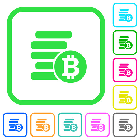 Bitcoins vivid colored flat icons in curved borders on white background
