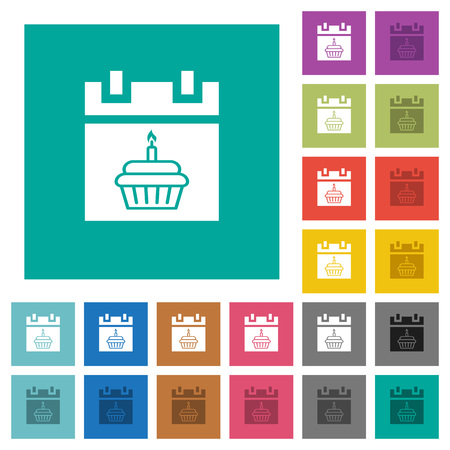 Birthday multi colored flat icons on plain square backgrounds.