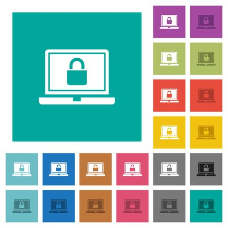 Locked laptop multi colored flat icons on plain square backgrounds. Included white and darker icon variations for hover or active effects. Illustration