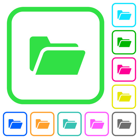 Folder open vivid colored flat icons in curved borders on white background