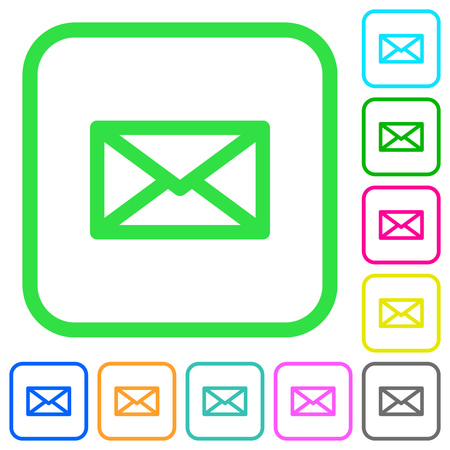 Message vivid colored flat icons in curved borders on white background