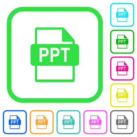 PPT file format vivid colored flat icons in curved borders on white background
