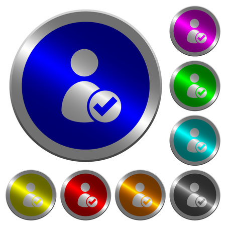 User account accepted icons on round luminous coin-like color steel buttons