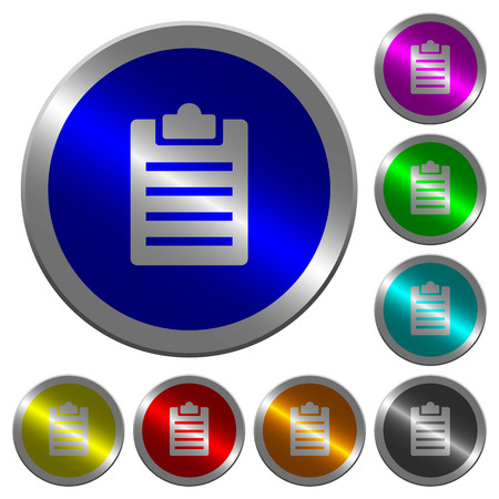 Notes icons on round luminous coin-like color steel buttons Illustration