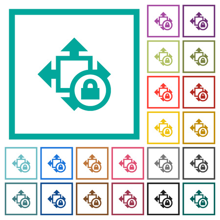 Size lock flat color icons with quadrant frames on white background