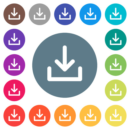 Download symbol flat white icons on round color backgrounds. 17 background color variations are included.