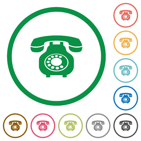 Vintage retro telephone flat color icons in round outlines on white background