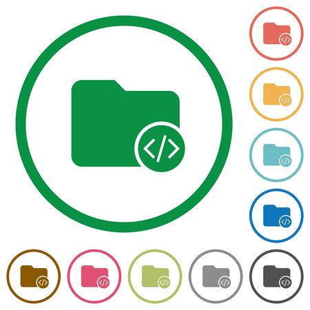 Source code directory flat color icons in round outlines on white background