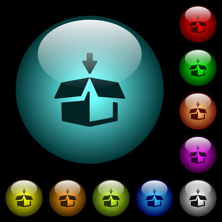 Pack to box icons in color illuminated spherical glass buttons on black background. Can be used to black or dark templates