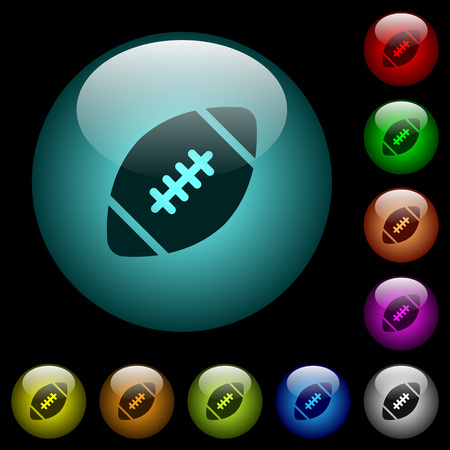 Rugby ball icons in color illuminated spherical glass buttons on black background. Can be used to black or dark templates