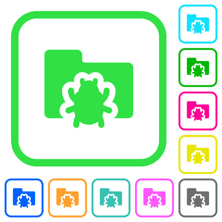 Bug folder vivid colored flat icons in curved borders on white background