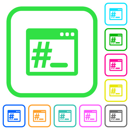 Root terminal vivid colored flat icons in curved borders on white background