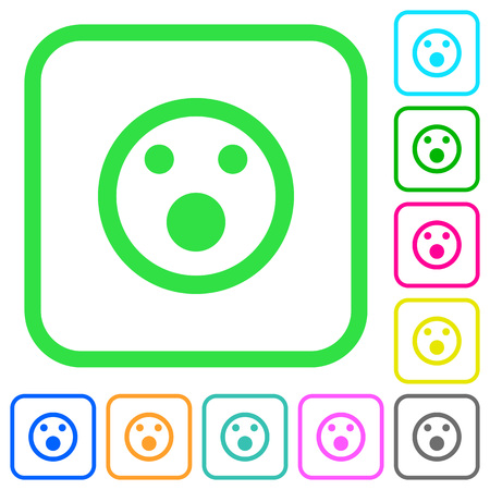 Shocked emoticon vivid colored flat icons in curved borders on white background