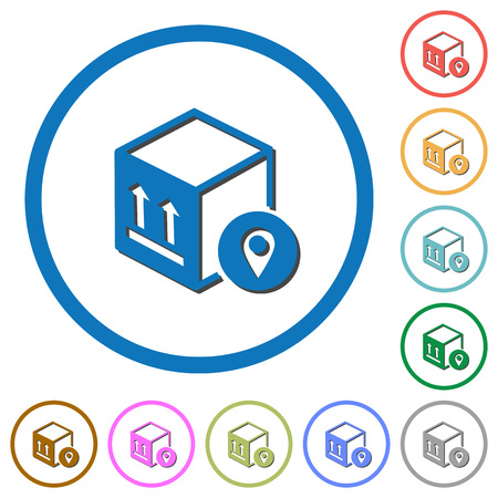 Package tracking flat color vector icons with shadows in round outlines on white background