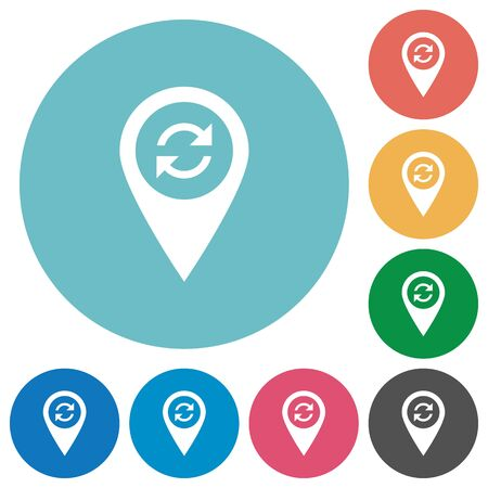 Syncronize GPS map location flat white icons on round color backgrounds Illustration
