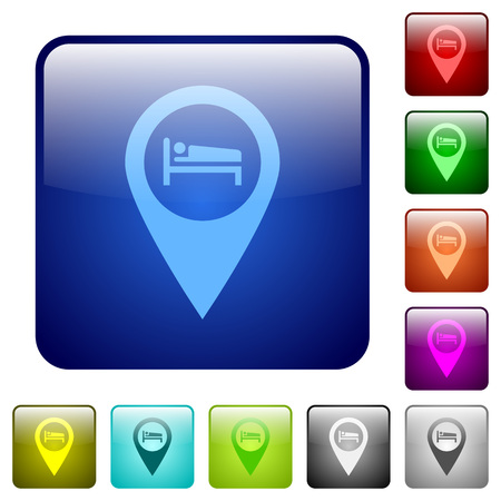 Hotel GPS map location icons in rounded square color glossy button set Illustration