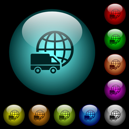 International transport icons in color illuminated spherical glass buttons on black background. Can be used to black or dark templates