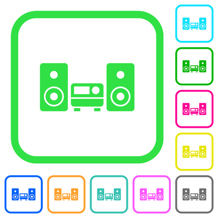 Stereo system vivid colored flat icons in curved borders on white background