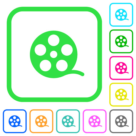 Movie roll vivid colored flat icons in curved borders on white background Illustration