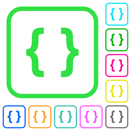 Programming code vivid colored flat icons in curved borders on white background